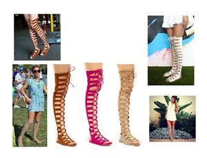 0901e7a4fa2 Womens Over The Knee Thigh High Gladiator Cage Flat Sandal Boot Lace ...