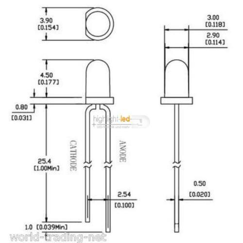 20 diodi 3mm essere diffusa Caldo-Bianco White Blanche diodi CALDO WHITE
