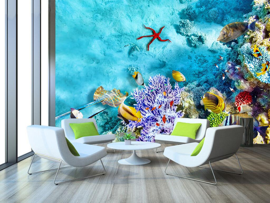 3D Koralle, Fisch 66 Fototapeten Wandbild Fototapete Bild Tapete Familie Kinder