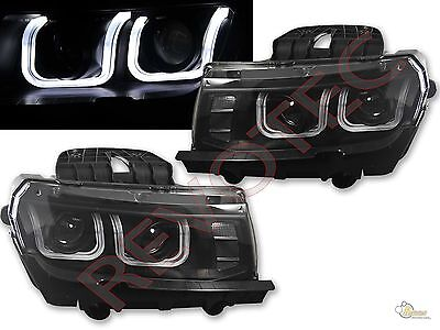 14-15 Chevy Camaro LS LT SS Black LED U Bar i8 Style Projector Headlights RH+LH