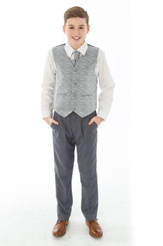 Baby Boys Grey Waistcoat Suit 4-piece Suit Pageboy Suit Grey Wedding Suit
