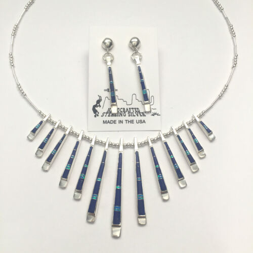 Sterling Silver Inlay Southwest Style Multi Stone Spine Necklace Post Dangle Set