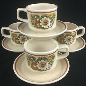 VTG-Set-of-4-Cups-and-Saucers-Lenox-Temper-Ware-Magic-Garden-Oven-To-Table-USA