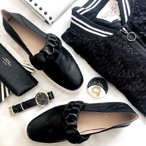Rachel Zoe Burke Braid Super soft Leather Luxury Fashion Slip on Trainers UK 8