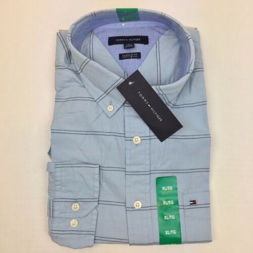 NEW Tommy Hilfiger Mens Striped Classic Fit Wrinkle Resistant Stretch Shirt Blue