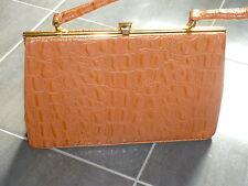 VINTAGE BROWN TAN CROCODILE LEATHER HANDBAG 50s VINTAGE KELLY BAG gifts for her