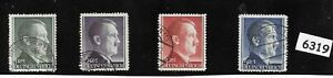 #6319  Adolph Hitler stamp set / Sc524a - 527a / Third Reich Germany 1942 - 1944