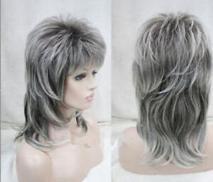 medium length grey dark root layered shoulder long