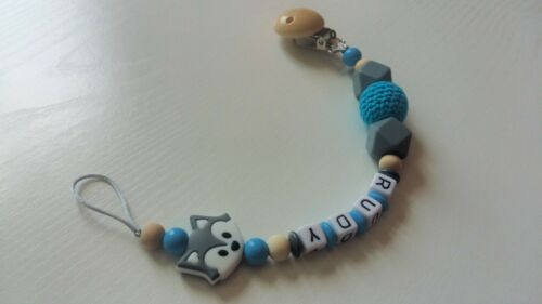 Any Name**Blue Personalised Dummy Clip//Chain for Boys//Fox