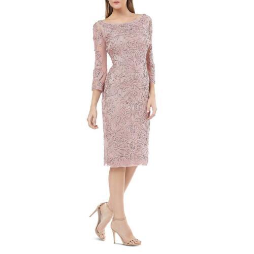 JS Collections Womens Applique Floral Midi Party Cocktail Dress BHFO 1774