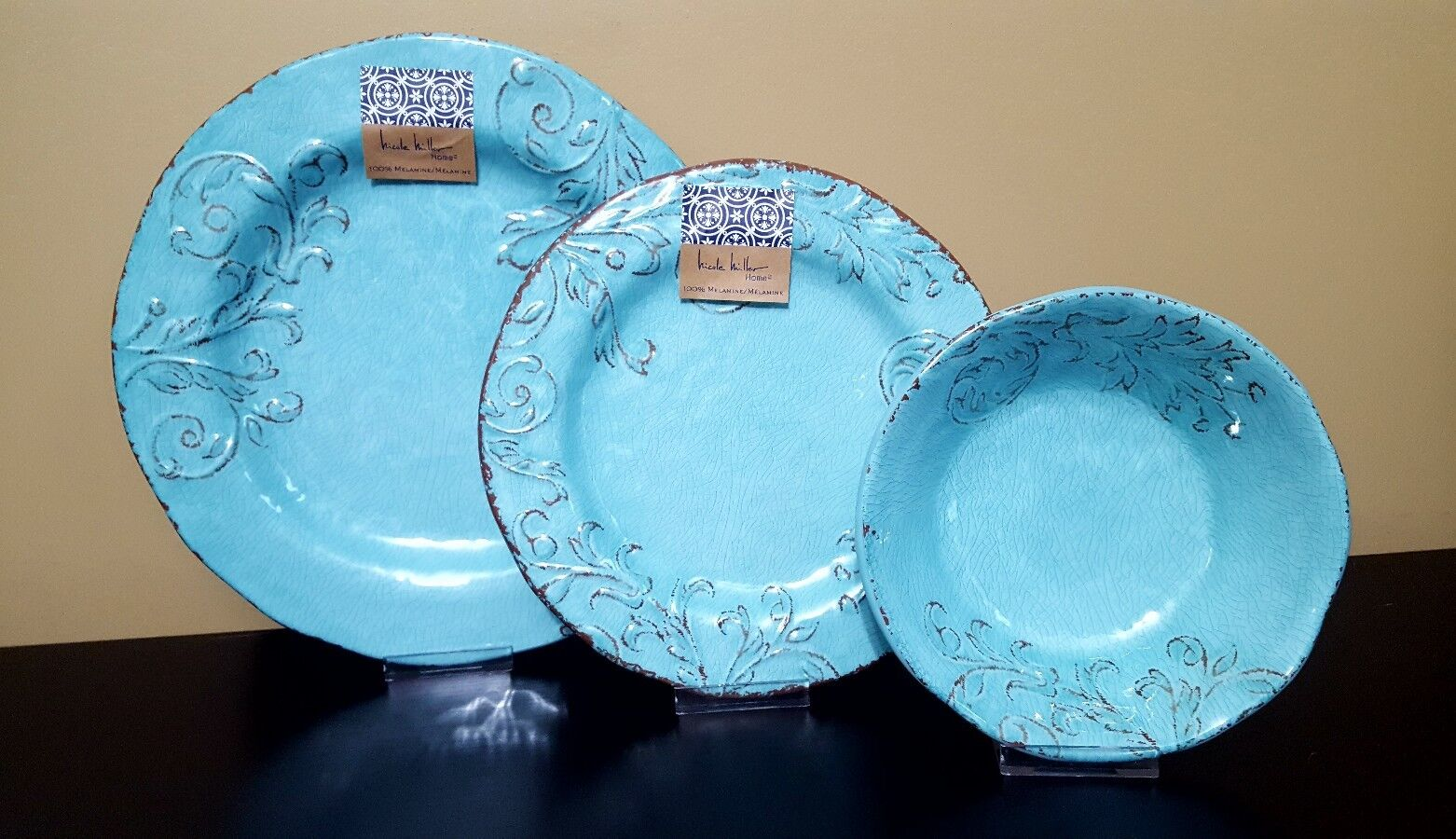 Nicole Miller Melamine Turquoise Scroll Floral Plates Bowls Dinnerware 12pc