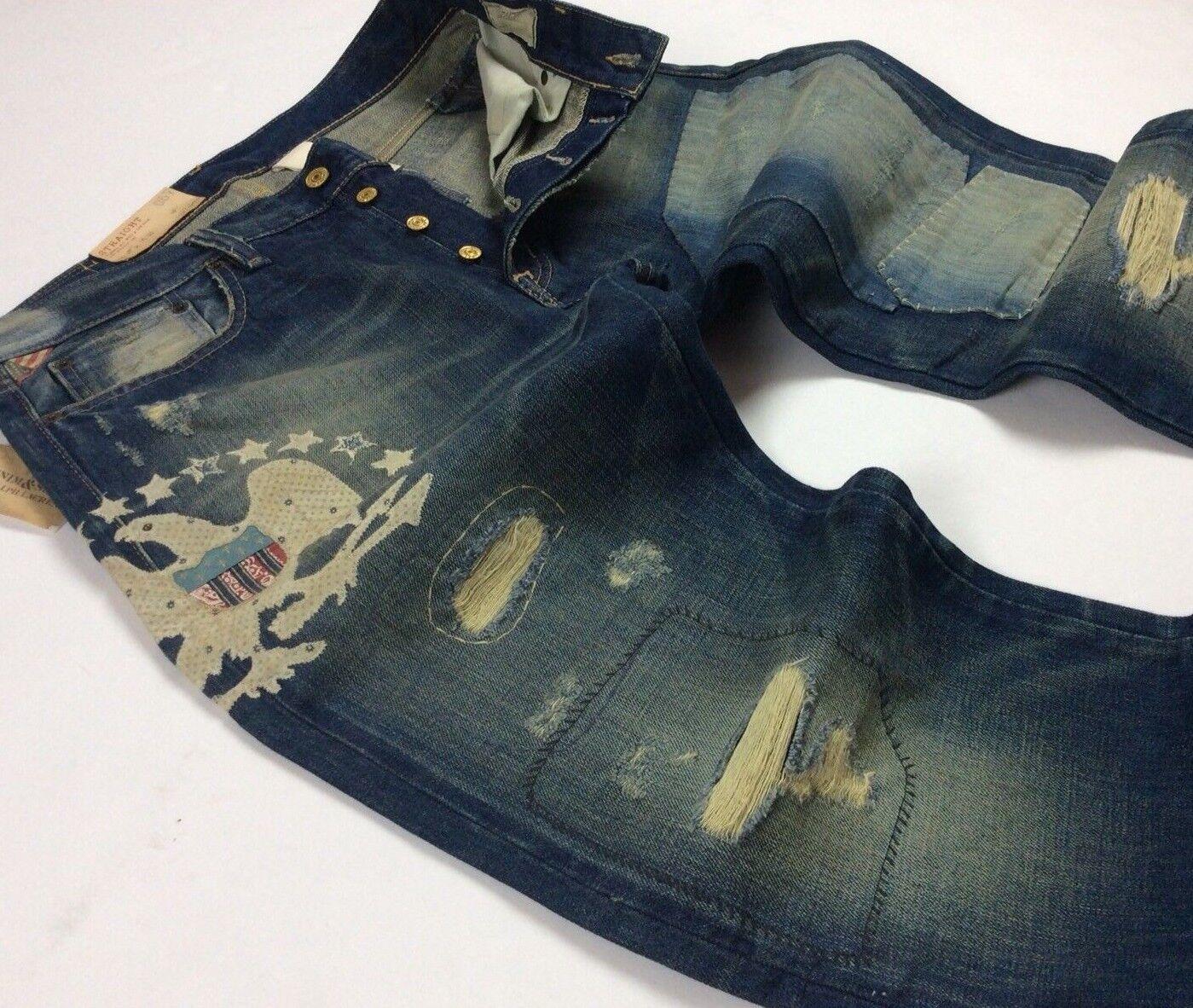 Denim Supply Ralph Lauren Men American Eagle Rip Repair Distress Patchwork Jeans