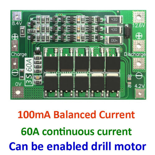 3S 60A 18650 Li-ion Lithium Battery BMS PCB Protection Board Balance 12.6V