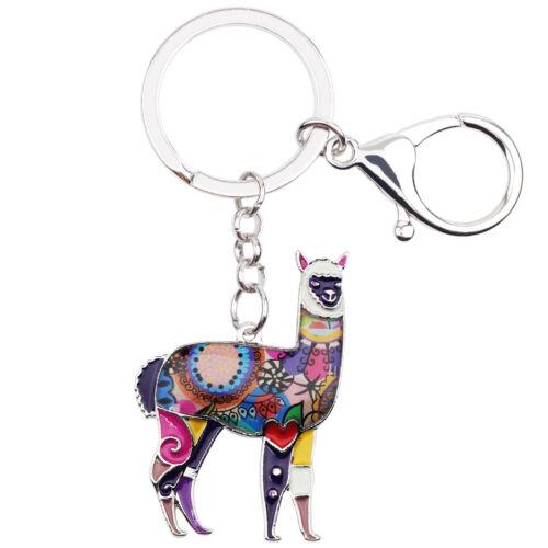 Enamel Alloy Floral Alpaca Goat Key Chain Ring Animal Jewelry For Women Bag Gift