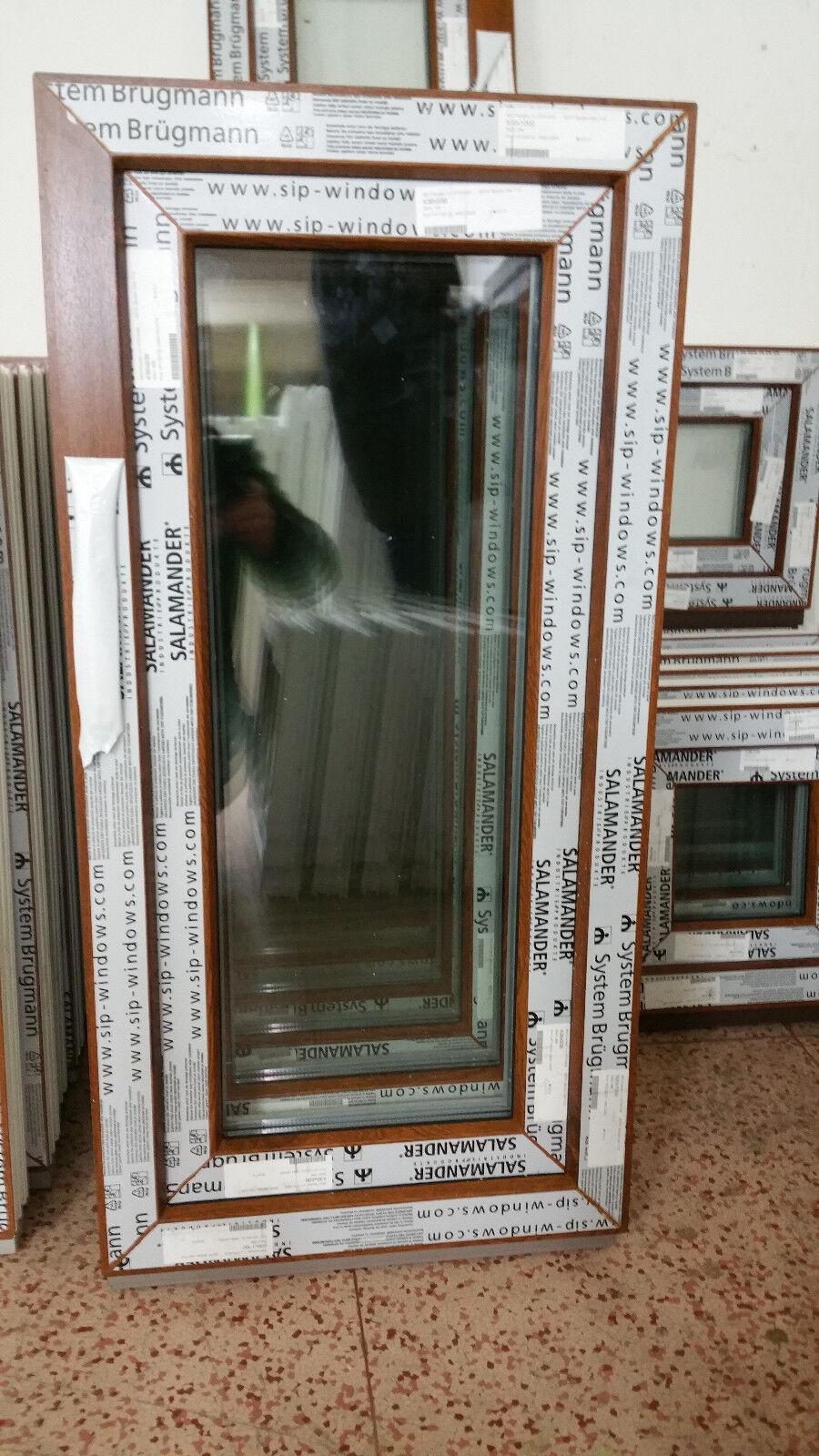 Kunststofffenster Salamander 50x100 cm (b x h), Eiche Gold, 1-flügelig