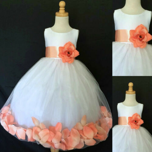 White Flower Girl Bridesmaids Summer Easter Rose Petal Dress 2 4 6 8 10 12 14 16