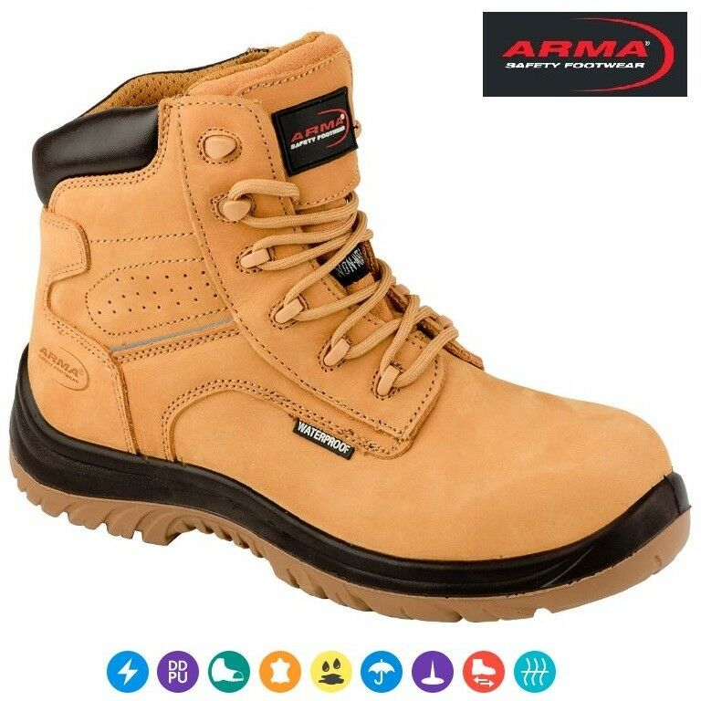 Mens ARMA Composite NON-METAL Safety Toe Cap S3 Waterproof Work Ankle Stiefel Größe