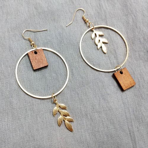 Fashion Round Gold Metal Leaves Wood Drop Earring Ear Hook Asymmetric Jewelry