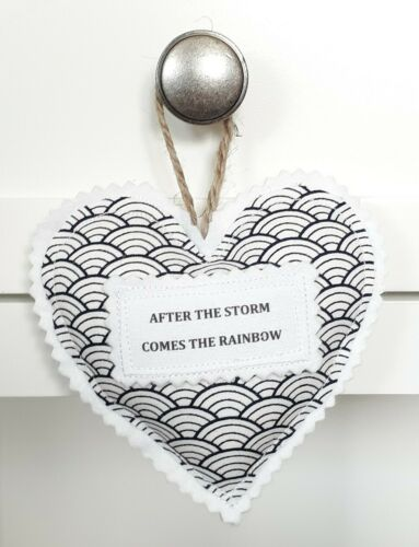 Handmade Fabric Hanging Heart Decoration Navy After The Storm Comes The Rainbow