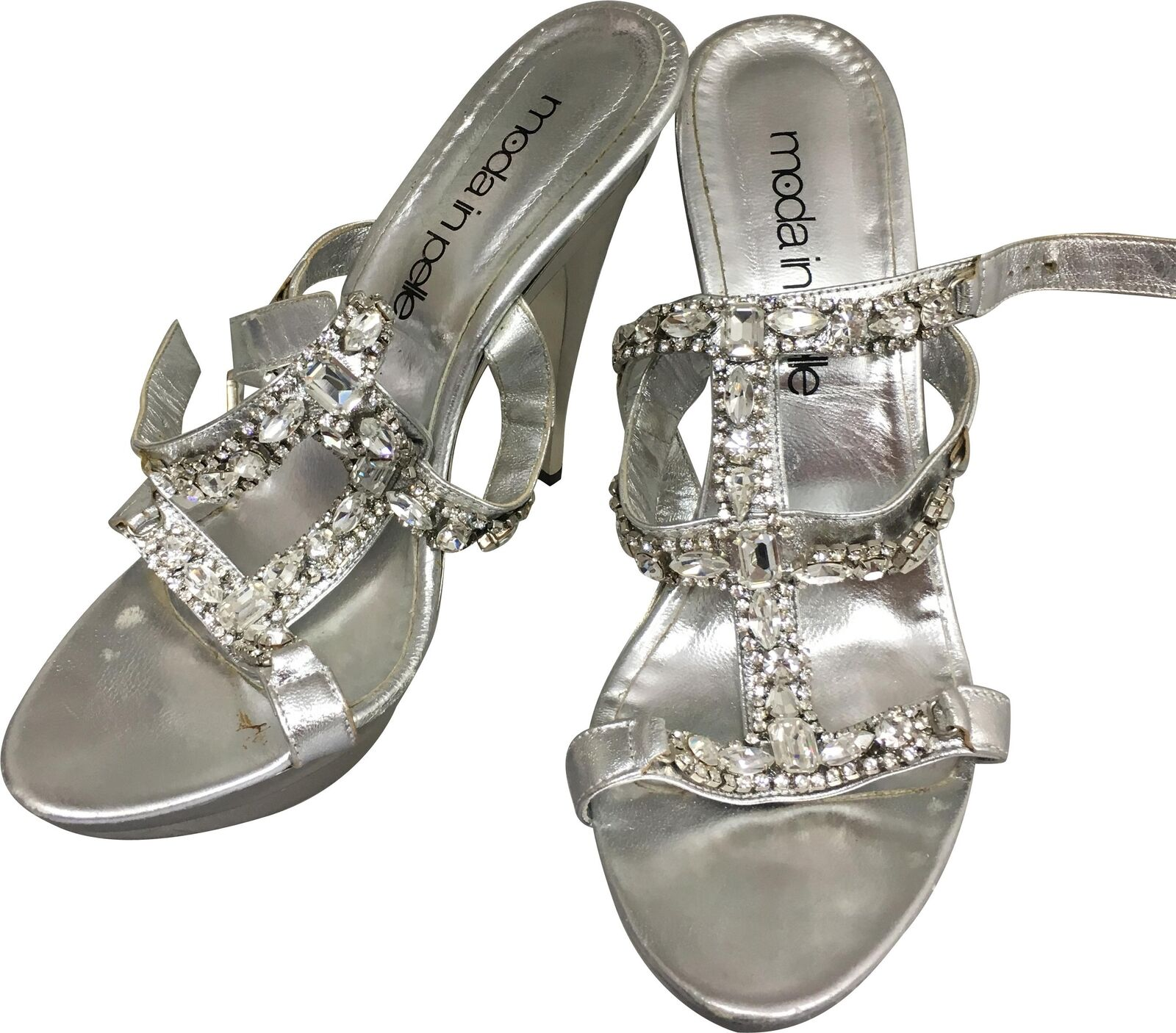 PRE-OWNED Ladies Moda In Pelle Silver Diamante 5.5In Heel Shoes Size 39 JB230