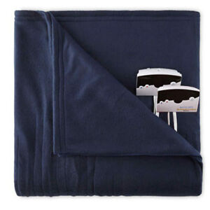 Biddeford 1003-9052106-5<wbr/>44 Knit Fleece Electric Heated Blanket Queen Navy Blue