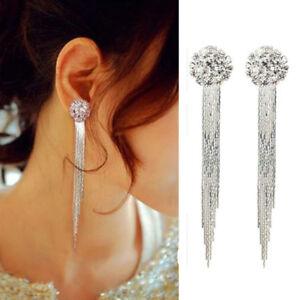 Fashion-Women-Silver-Crystal-Tassle-Ear-Stud-Dangle-Drop-Earrings-Bridal-Jewelry