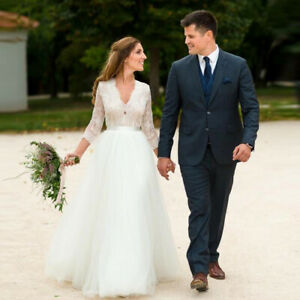 Simple-Top-Lace-Country-Wedding-Dresses-V-Neck-3-4-Sleeve-Beach-Bridal-Gowns