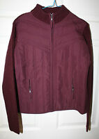 Womens Ladies Sweater Jacket Creazioni Effeci Purple Bordeaux Zip Front Xl