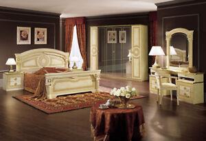 Schlafzimmer Komplett Set Beige Hochglanz Stil Klassisch ...