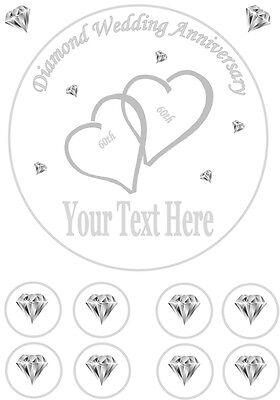 "Personalised 60th Diamond Wedding Anniversary 7.5"" Icing Sheet"