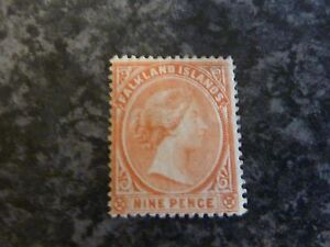 FALKLAND ISLANDS POSTAGE STAMP SG36 NINE PENCE SALMON MOUNTED MINT