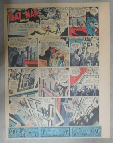 11 x 15 inches Full Color ! Batman Sunday #115 by Bob Kane from 1//13//1946 Size