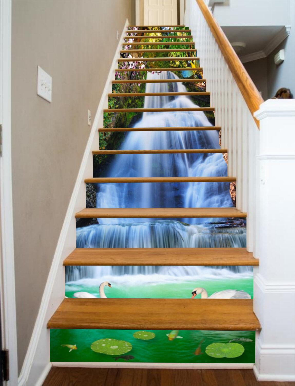 3D Waterfall Swan 7 Stair Risers Decoration Photo Mural Vinyl Decal WandPapier UK