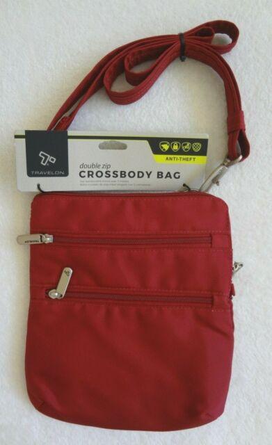 Travelon Anti Theft Travel Purse Slim Crossbody Bag Red Wine Burgundy Double Zip