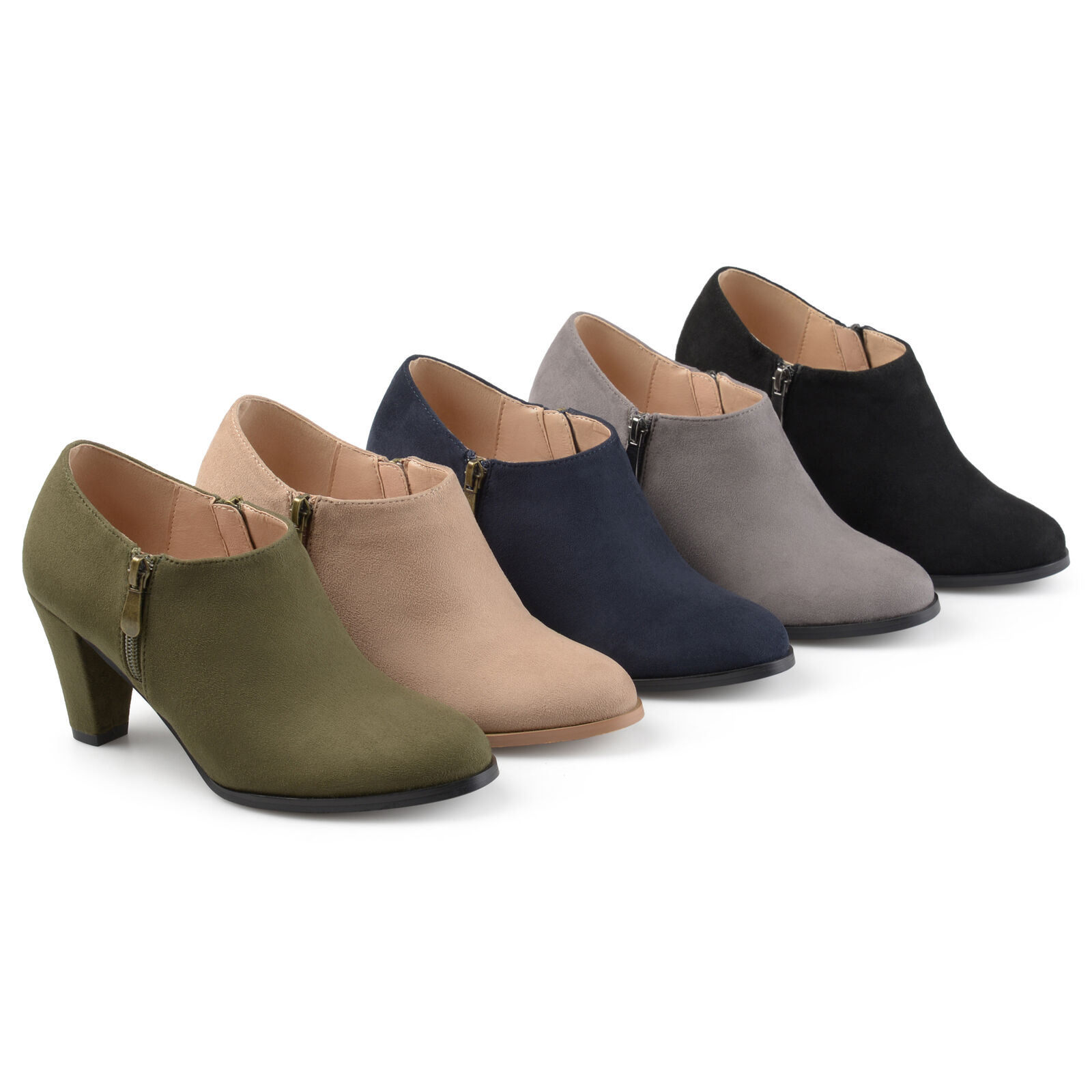 Brinley Co Womens Sadra Faux Suede Low cut Comfort sole Ankle Booties New