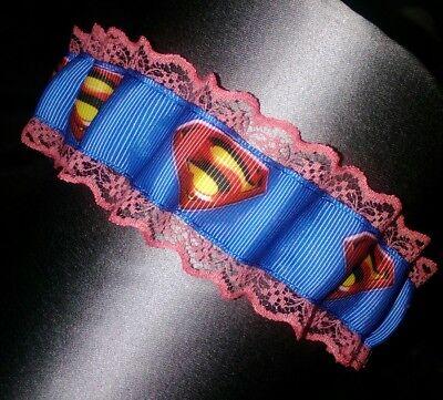 Appena Superman Wedding Giarrettiera Rossa In Pizzo Giarrettiera Da Sposa, Nuovo-mostra Il Titolo Originale Rafforzare La Vita E I Sinews