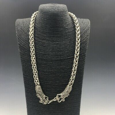 China Old Tibet Silver Carve  necklace Loong head necklace