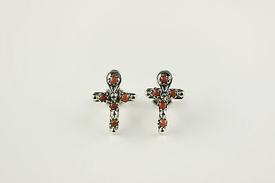 Native American Indian Jewelry Sterling Silver Coral Cross Zuni Post Earrings