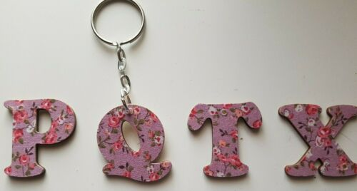 Wooden Alphabet Keyring Flower Pattern 3 Colours Purple-Blue-Yellow Gift Bagged