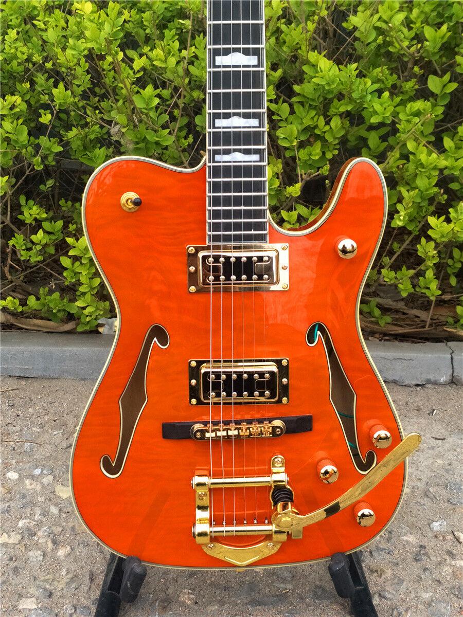 Großhandel E-Gitarre in Orange Doppel F-Holes Blocks Inlay Free Shipping