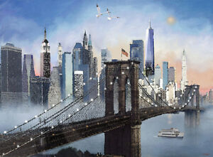 Details About New York Skyline Brooklyn Bridge Freedom Tower Painting Giclee Canvas 16x20