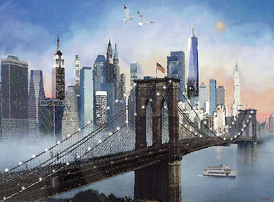 NEW YORK Skyline Brooklyn Bridge Twin Towers Painting Giclee Canvas 16x20/""