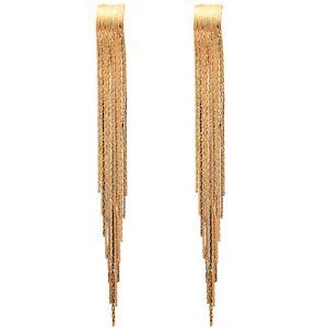 Gold-Filled-Textured-Tassels-amp-Fringes-Shoulder-Duster-Dangle-Stud-Earrings-15CM