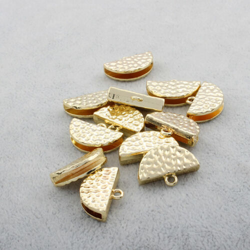 10PCS Hammered Crimps End Caps Bail Tips for Tassel Jewelry Connector Clasp
