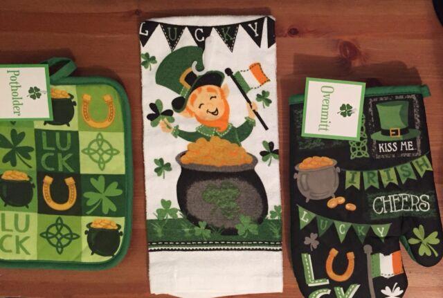 Shamrock Celtic St Patricks Day Irish 3 pc kitchen towel potholder oven mitt set