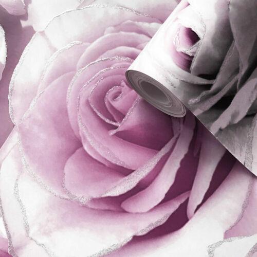 Muriva Wallpaper Luxury Roses // Floral 139522 Madison Glitter Amethyst