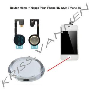 Bouton-Home-Couleur-Blanc-Avec-Contour-Argente-Pour-iPhone-4S-Nappe-Home