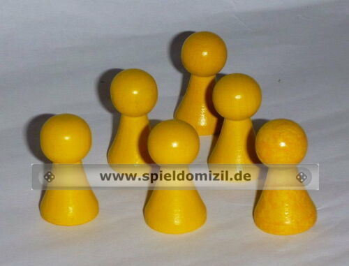 Nice Shaped Wood Chinese Checkers Game Figures in Yellow 6 pöppel NEW 26 x 15 mm