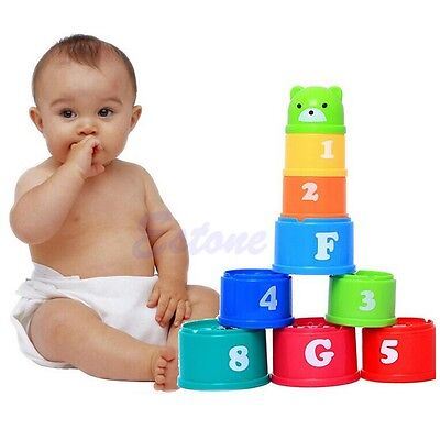 1Set Children Baby Kids Educational Toy Figures Letters Folding Cup Pagoda Stack