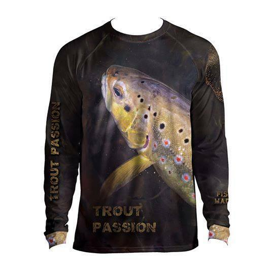 Men's Long Sleeve Graphic Shirt TROUT PASSION  Breathable Perch Lure Fishing UK